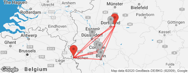 Popular indirect connections Aachen → Dortmund Airport (DTM)