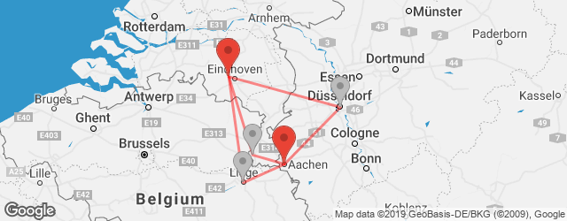 Popular indirect connections Aachen → Eindhoven Airport (EIN)