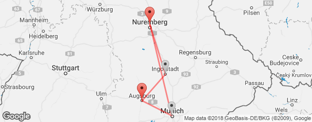Popular indirect connections Augsburg, Germany → Nuremberg Airport (NUE)