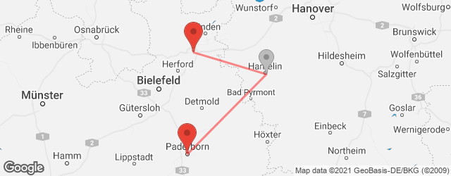 Popular indirect connections Bad Oeynhausen → Paderborn