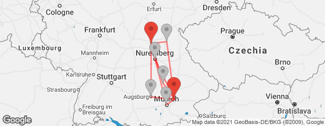 Popular indirect connections Bamberg → Erding