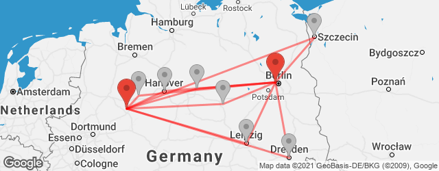 Popular indirect connections Berlin Airport Tegel (TXL) → Bielefeld
