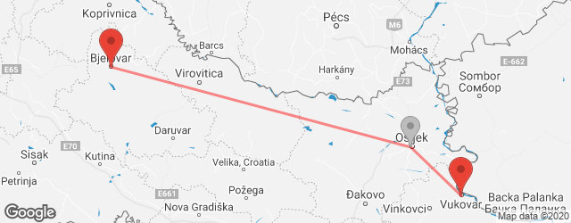 Popular indirect connections Bjelovar → Vukovar