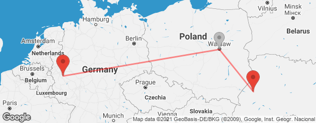 Popular indirect connections Bonn → Lviv