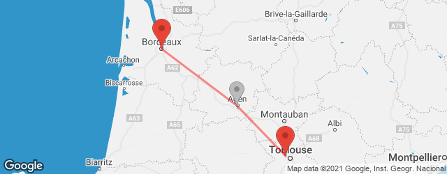Popular indirect connections Bordeaux → Toulouse-Blagnac Airport (TLS)