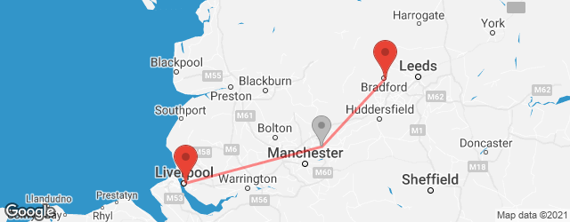 Popular indirect connections Bradford → Liverpool