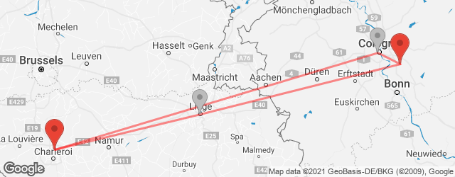 Popular indirect connections Brussels South Charleroi Airport (CRL) → Cologne/Bonn Airport (CGN)