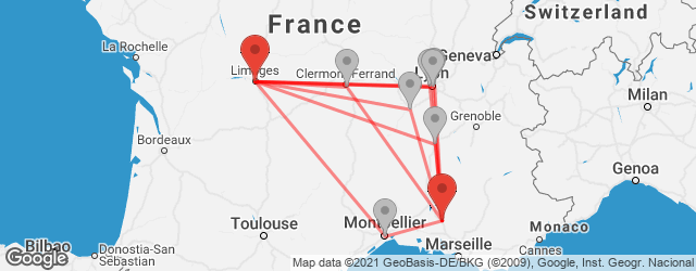 Popular indirect connections Cavaillon → Limoges