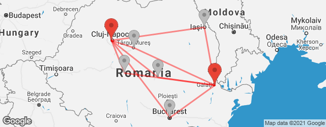 Popular indirect connections Cluj-Napoca → Galați