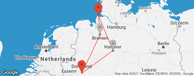 Popular indirect connections Cuxhaven → Hagen
