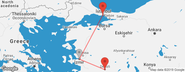 Popular indirect connections Denizli → Istanbul
