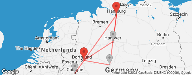 Popular indirect connections Dortmund Airport (DTM) → Hamburg