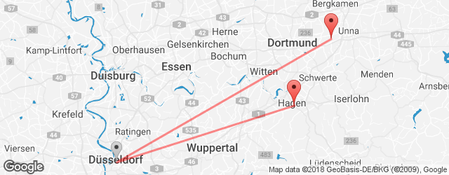 Popular indirect connections Dortmund Airport (DTM) → Hagen