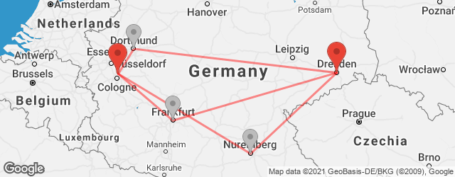 Popular indirect connections Dresden → Leverkusen