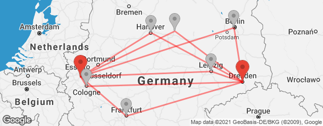 Popular indirect connections Dresden → Neuss