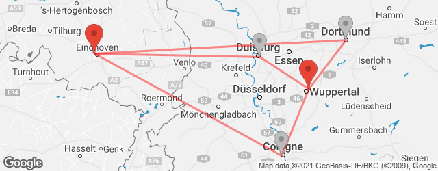 Popular indirect connections Eindhoven → Wuppertal