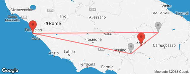 Popular indirect connections Fiumicino → Isernia
