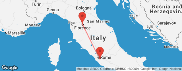 Popular indirect connections Florence → Rome Ciampino Airport (CIA)