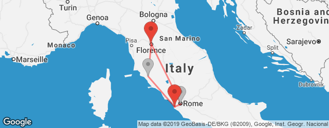Popular indirect connections Florence → Rome–Fiumicino Airport (FCO)