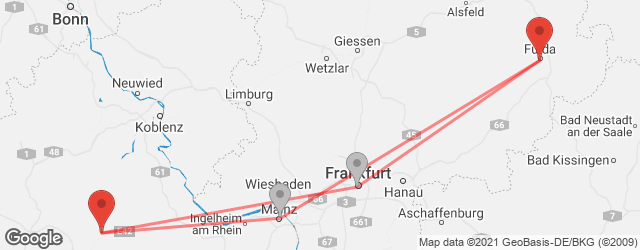Popular indirect connections Frankfurt-Hahn Airport (HHN) → Fulda