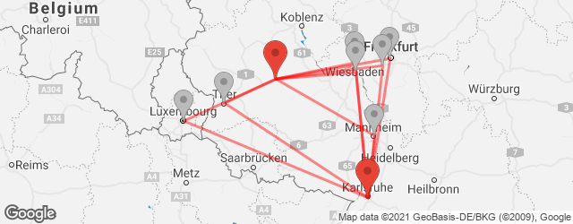 Popular indirect connections Frankfurt-Hahn Airport (HHN) → Karlsruhe