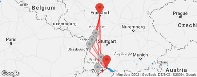 Popular indirect connections Frankfurt → Konstanz
