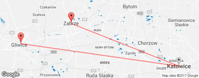 Popular indirect connections Gliwice → Zabrze