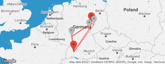 Popular indirect connections Halle (Saale) → Hechingen