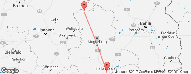 Popular indirect connections Halle (Saale) → Salzwedel