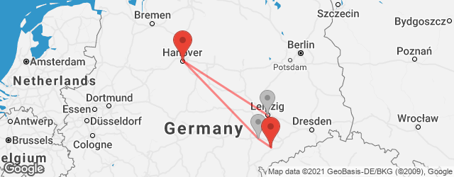 Popular indirect connections Hannover → Zwickau