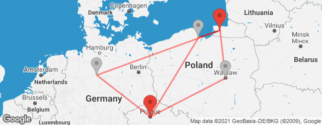 Popular indirect connections Kaliningrad → Prague