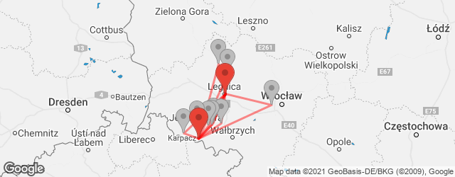 Popular indirect connections Karpacz → Legnica