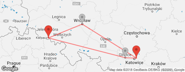 Popular indirect connections Karpacz → Sosnowiec