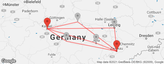 Popular indirect connections Kassel → Zwickau