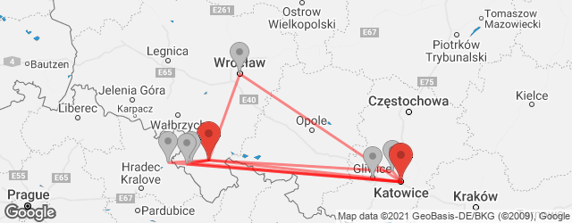 Popular indirect connections Katowice → Klodzko