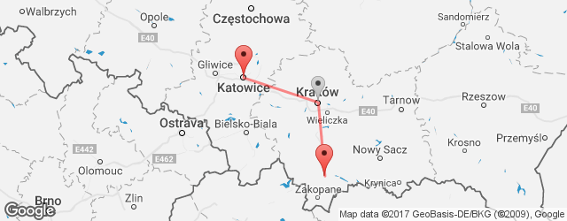 Popular indirect connections Katowice → Nowy targ