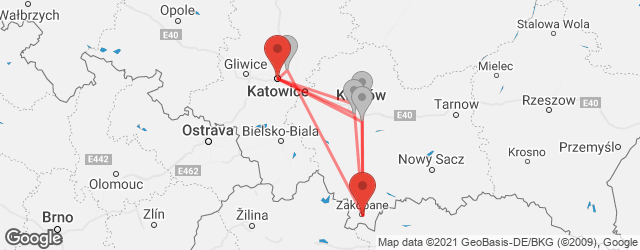 Popular indirect connections Katowice → Zakopane