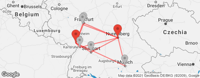 Popular indirect connections Landau → Nuremberg