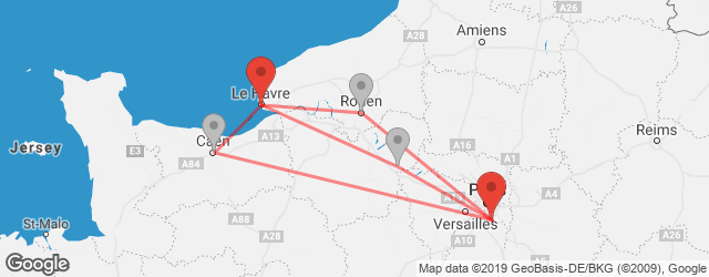 Connections populaires avec changement Le Havre → Orly