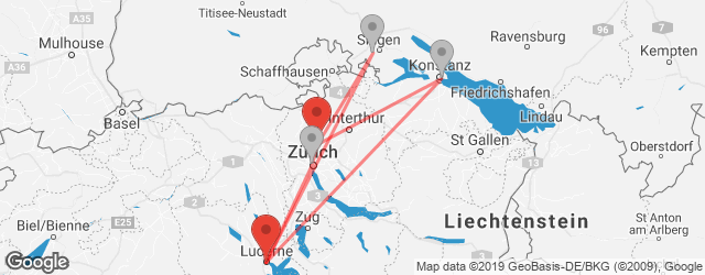 Popular indirect connections Lucerne → Zurich Airport (ZRH)