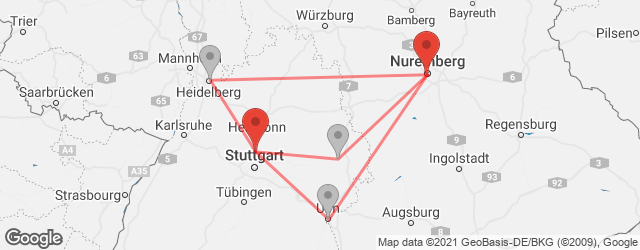 Popular indirect connections Ludwigsburg → Nuremberg
