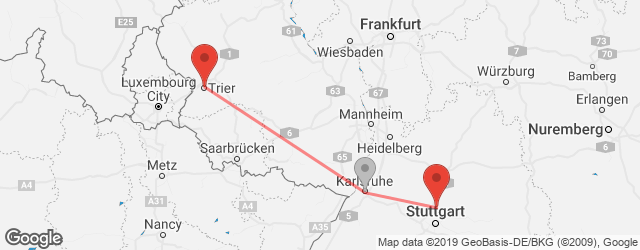 Popular indirect connections Ludwigsburg → Trier