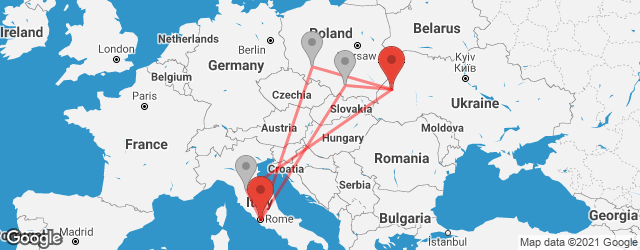 Popular indirect connections Lviv → Rome