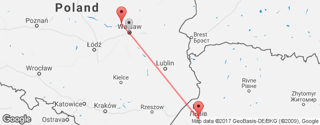Popular indirect connections Lviv → Warsaw–Modlin Airport (WMI)