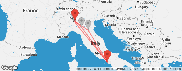 Popular indirect connections Milan Linate Airport (LIN) → Naples