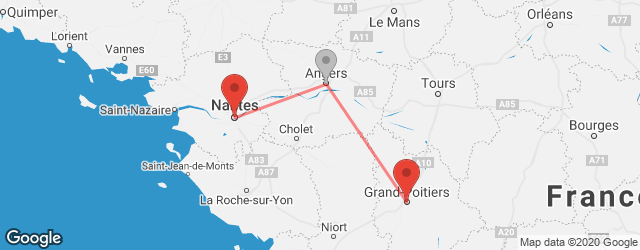 Popular indirect connections Nantes → Poitiers