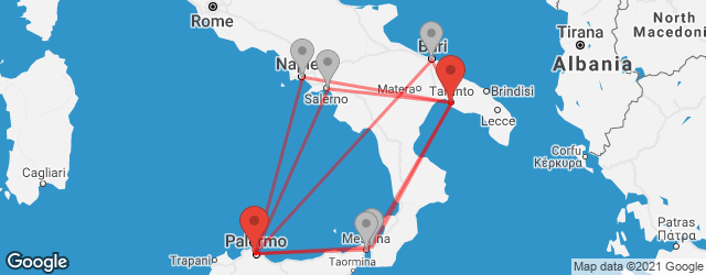 Popular indirect connections Palermo → Taranto