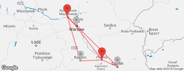 Popular indirect connections Pulawy → Warsaw–Modlin Airport (WMI)