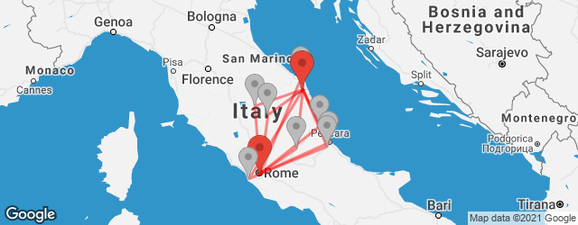Popular indirect connections Recanati → Rome