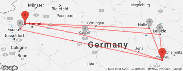 Popular indirect connections Recklinghausen → Zwickau